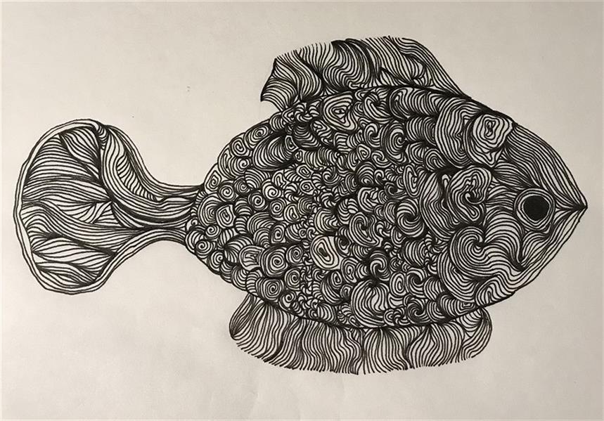 هنر نقاشی و گرافیک محفل نقاشی و گرافیک ساناز سیداصفهانی  نقاشی - تکنیک میکرون  #نقاشی #ماهی #میکرون #آبستره #مدرن