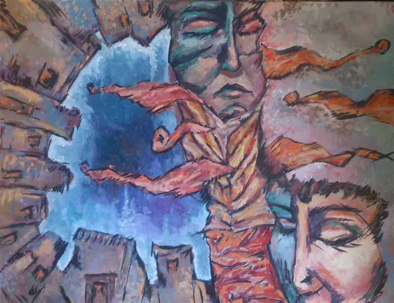 هنر نقاشی و گرافیک محفل نقاشی و گرافیک آرزو نوید رنگ و روغن، نام اثر ژرفای افکار