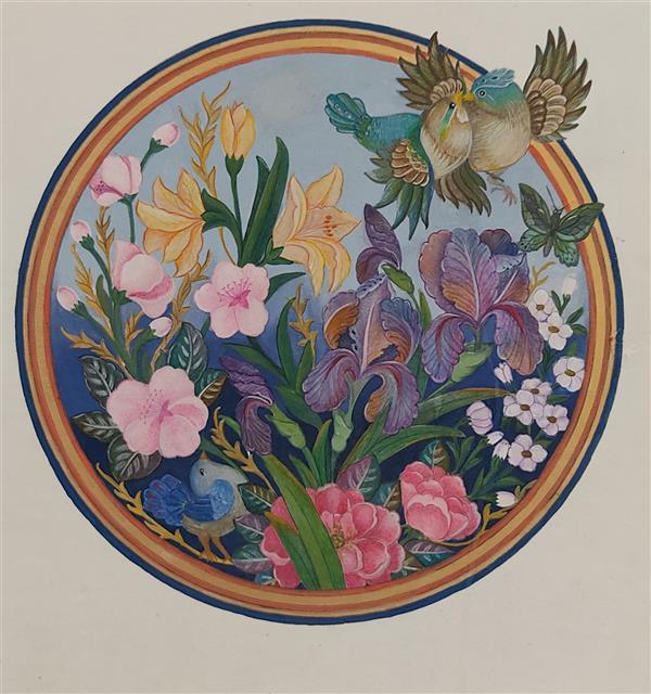 هنر نقاشی و گرافیک محفل نقاشی و گرافیک حنا باقری  تابلو گل و مرغ، آبرنگ،گواش، ۱۳۹۸، حنا باقری