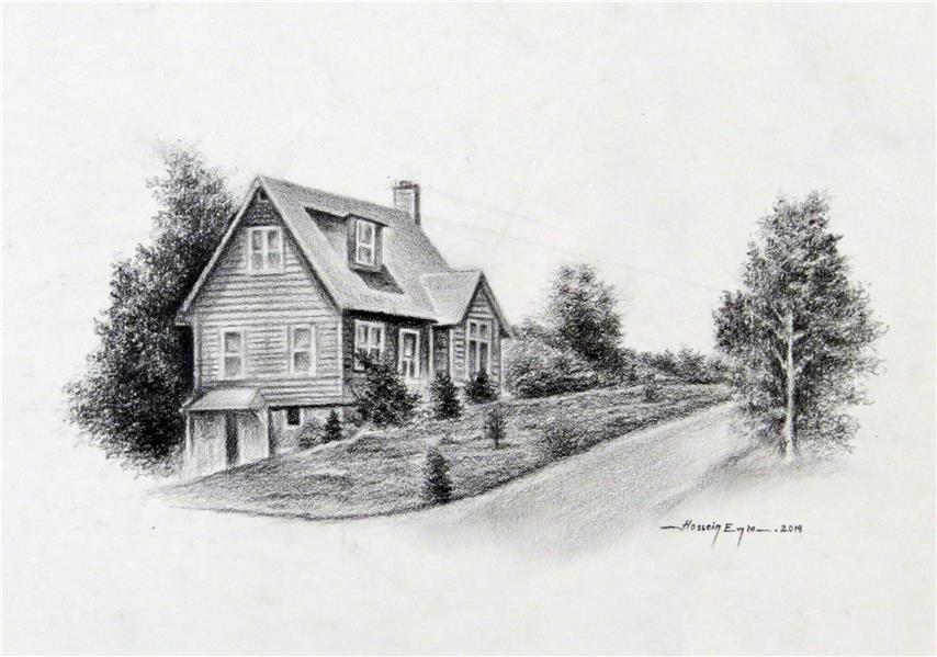 هنر نقاشی و گرافیک محفل نقاشی و گرافیک Emra Drawing of an old house with graphite pencil