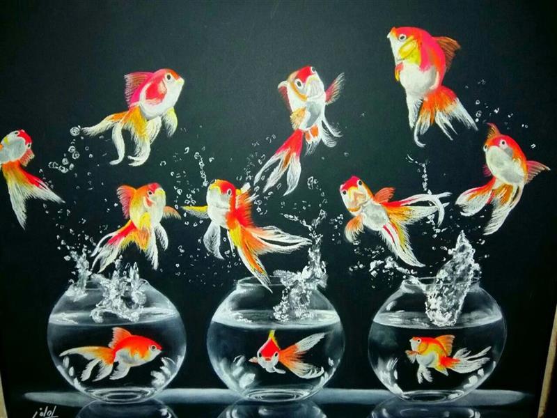 هنر نقاشی و گرافیک محفل نقاشی و گرافیک معصومه لطفی رقص ماهی ها