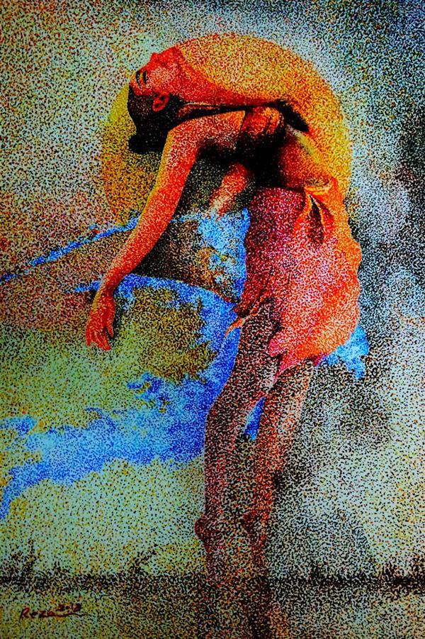 هنر نقاشی و گرافیک محفل نقاشی و گرافیک Reza karimnejad گواش و مرکب روی فابریانو 20x40 cm