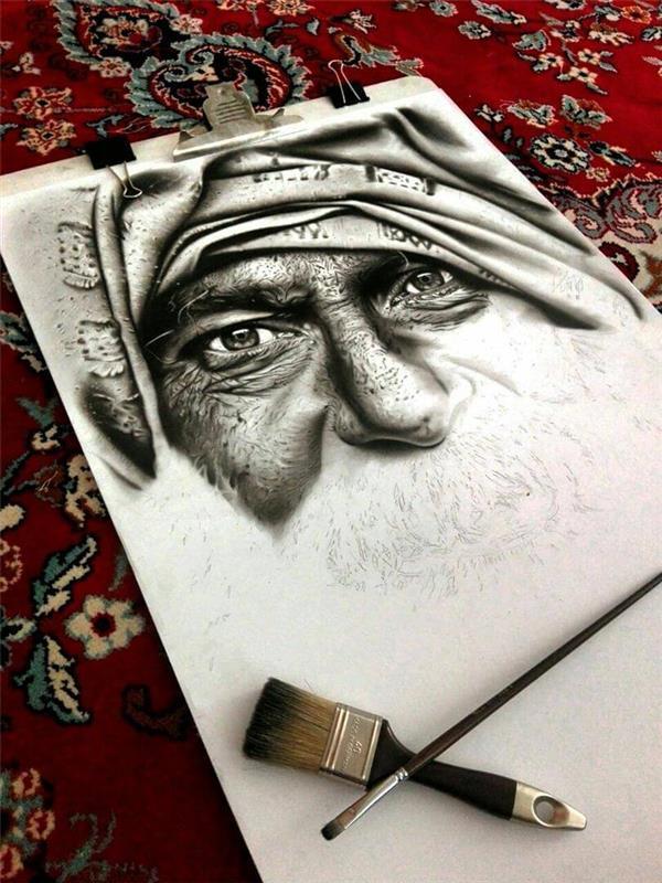 هنر نقاشی و گرافیک محفل نقاشی و گرافیک مهران رحمانی سیاه قلم.سبک فوتورئال .50 درصد انجام شده.