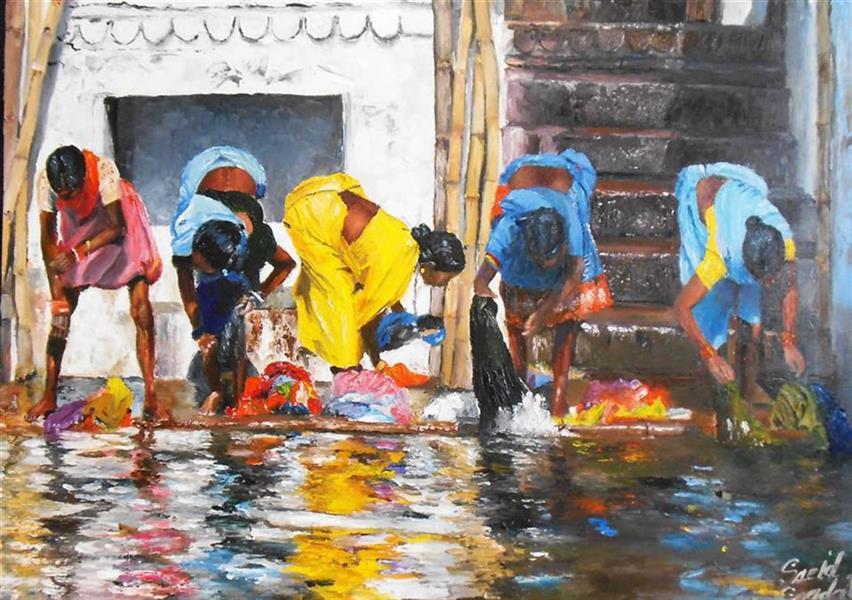 هنر نقاشی و گرافیک محفل نقاشی و گرافیک saeid saadat #زنان هندو کنار گنگ رنگ و روغن کار با کاردک روی بوم 70 * 50