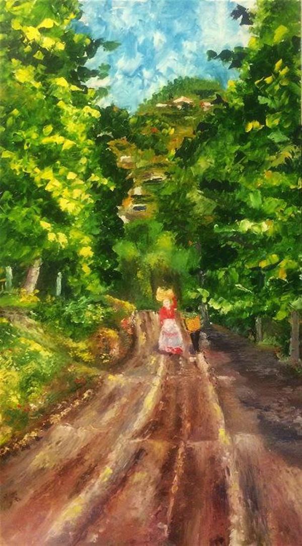 هنر نقاشی و گرافیک محفل نقاشی و گرافیک saeid saadat #جاده جنگلی - رنگ و روغن - کار با کاردک - روی mdf