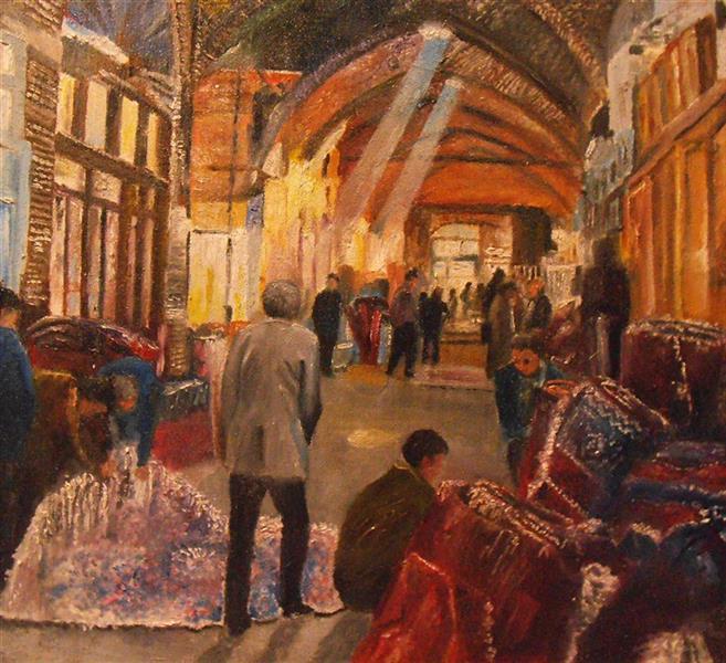 هنر نقاشی و گرافیک محفل نقاشی و گرافیک saeid saadat #بازارچه فرش - رنگ و روغن - کار با کاردک روی بوم فشرده - 28 * 25