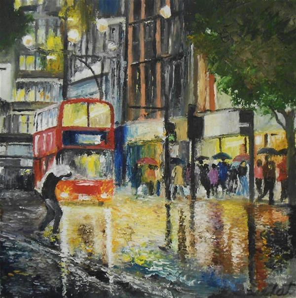 هنر نقاشی و گرافیک محفل نقاشی و گرافیک saeid saadat #نور و باران - رنگ وروغن - کار با کاردک - روی بوم فشرده - 30 * 30
