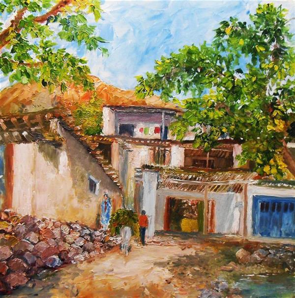 هنر نقاشی و گرافیک محفل نقاشی و گرافیک saeid saadat #روستا - رنگ و روغن - کار با کاردک روی ام -دی - اف 30 * 30