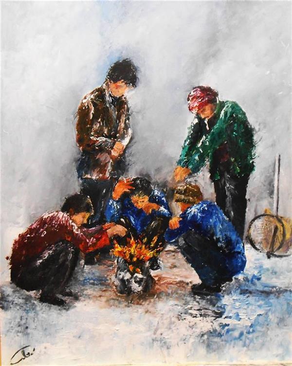 هنر نقاشی و گرافیک محفل نقاشی و گرافیک saeid saadat #کارگران فصلی - رنگ و روغن کار با کاردک روی MDF 3 میل