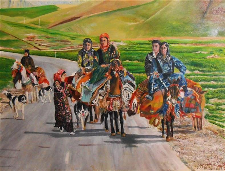 هنر نقاشی و گرافیک محفل نقاشی و گرافیک saeid saadat #هنگامه کوچ - رنگ و روغن - روی بوم - فروخته شد