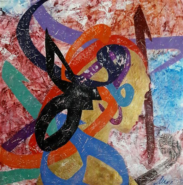 هنر نقاشی و گرافیک محفل نقاشی و گرافیک AthenaFaraji #زن #مادر ترکیب مواد و اکریلیک روی بوم