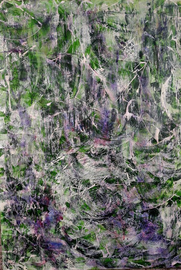 هنر نقاشی و گرافیک محفل نقاشی و گرافیک AthenaFaraji جنگل جان مرا آتش عشق تو خاکستر کرد ابعاد 70 * 100  ترکیب مواد و آکریلیک روی بوم با لایه محافظ