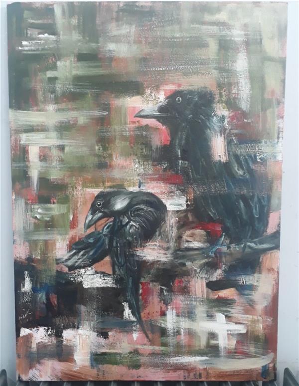 هنر نقاشی و گرافیک محفل نقاشی و گرافیک Zeynab zibaei #نقاشی #تنهایی #کلاغ #تکنیک_اکرلیک و #رنگ_روغن ابعاد_50_70