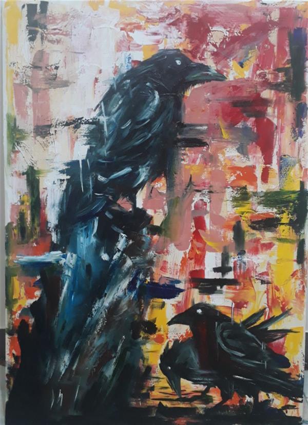 هنر نقاشی و گرافیک محفل نقاشی و گرافیک Zeynab zibaei #نقاشی_متریال_رنگ روغن_بوم_طبیعت_کلاغ_ابعاد_۵۰_۷۰