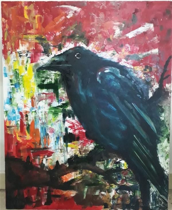 هنر نقاشی و گرافیک محفل نقاشی و گرافیک Zeynab zibaei #نقاشی_تنهایی_کلاغ_تکنیک_رنگ_روغن_ابعاد_۱۰۰_۸۰