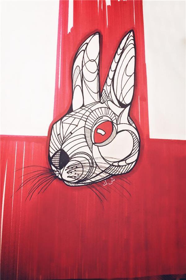 هنر نقاشی و گرافیک محفل نقاشی و گرافیک ShaHeeN keshavarz #rabbit #rabbit #rabbitdrawing #redeye #red #majik #rapid #practicing  #ش_ک خطوط ماژیک به عمد تراز نیست ma work چشم قرمز
