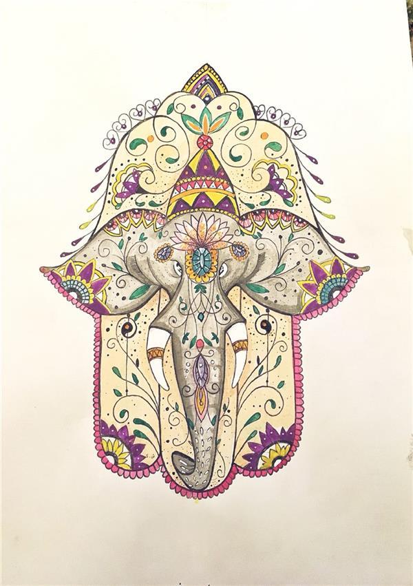 """هنر نقاشی و گرافیک محفل نقاشی و گرافیک ShaHeeN keshavarz #watercolor #rapid #drawing #draw #paint #elephants #khamseh #tanit #chamsa #hamsa #khamsa  my work  #shahin_keshavarz  دست همسا یک طلسم باستانی خاور میانه است که نماد دست خدا است. این نماد در تمام ادیان یک علامت محافظ است و برای دارنده آن، شادی، شانس، سلامتی و اقبال خوب به ارمغان می آورد. معنی دست هامسا بسته به فرهنگ، تفسیرهای مختلفی دارد. نام کلمه """"هامسا"""" از پنج انگشت دست مشتق می شود. عدد پنج در عبری """"همسه"""" است و پنجمین حرف الفبای عبری """"هی"""" است که یکی از نام های مقدس خداست و سمبل پنج حس دارنده در تلاشی برای ستایش خداست."""