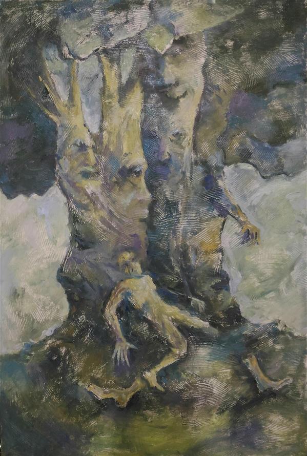 هنر نقاشی و گرافیک محفل نقاشی و گرافیک ab-derakhshan #ترکیب مواد 60*40 #انسان ، درخت#نوگرایی #سورئالسیم