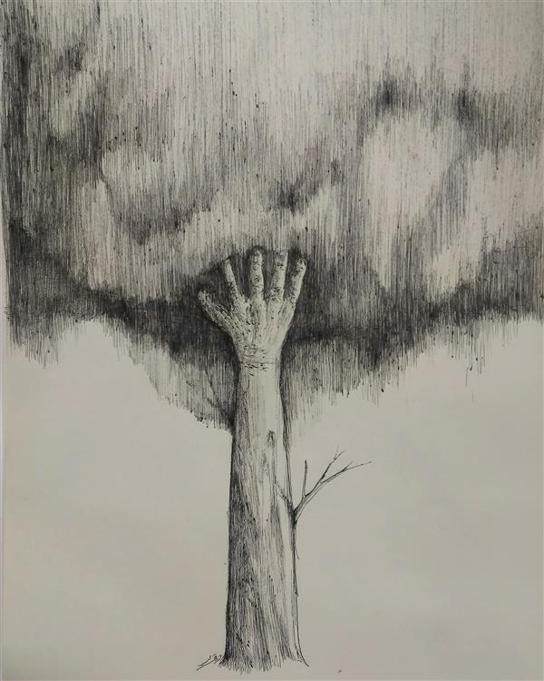 هنر نقاشی و گرافیک محفل نقاشی و گرافیک ab-derakhshan #راپید #ابعد ۳۰*۴۰ #انسان طبیعت