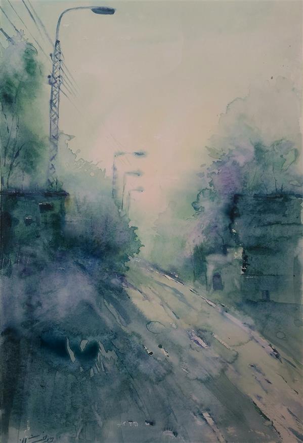 هنر نقاشی و گرافیک محفل نقاشی و گرافیک ab-derakhshan #آبرنگ  ابعاد ۴۰*۵۵ #مجموعه در مسیر