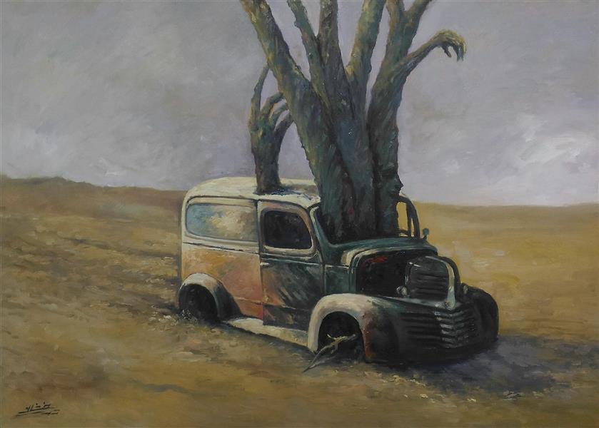 هنر نقاشی و گرافیک محفل نقاشی و گرافیک ab-derakhshan #رنگ روغن ۷۰*۵۰ #سورئالیست#انسان،درخت