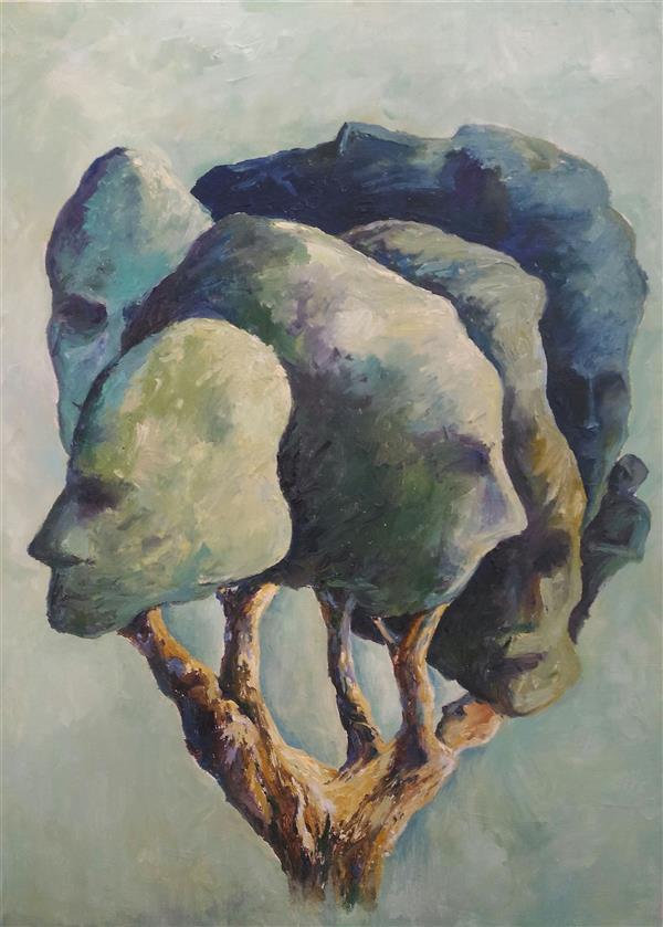 هنر نقاشی و گرافیک محفل نقاشی و گرافیک ab-derakhshan #رنگ روغن ۷۰*۵۰ #سورئالیست #انسان ،درخت