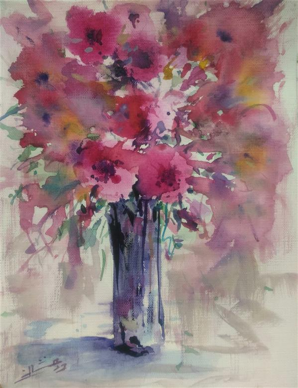 هنر نقاشی و گرافیک محفل نقاشی و گرافیک ab-derakhshan #آبرنگ ۱۸*۲۵ #گل و گلدان
