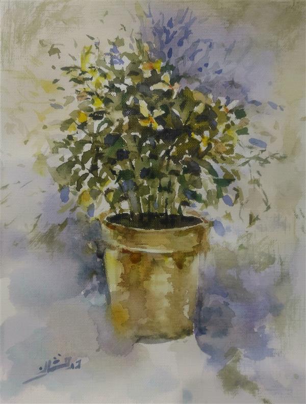 هنر نقاشی و گرافیک محفل نقاشی و گرافیک ab-derakhshan #آبرنگ  18*25 #گل و گلدان