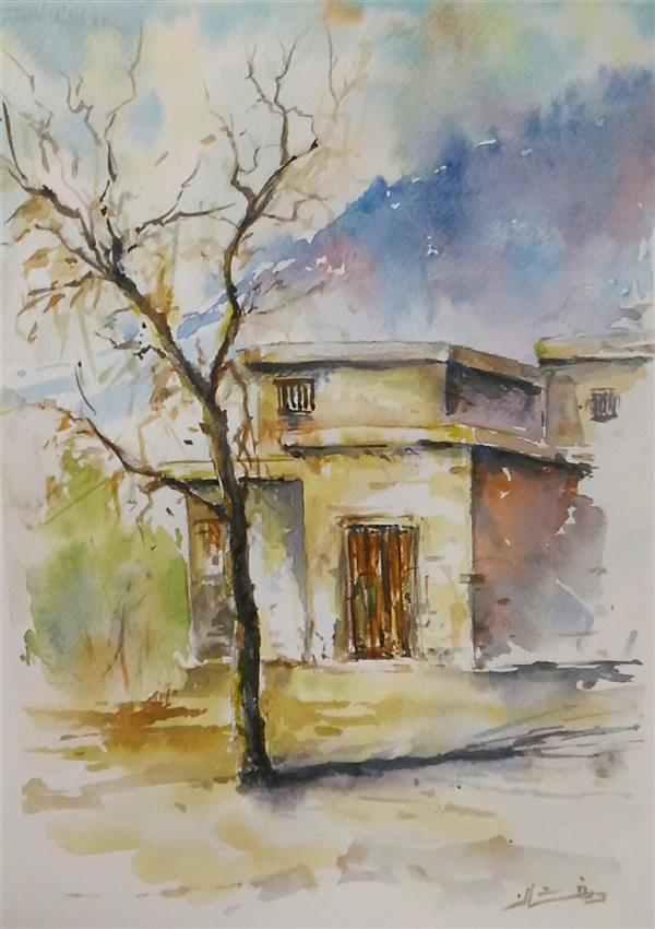 هنر نقاشی و گرافیک محفل نقاشی و گرافیک ab-derakhshan #آبرنگ # ۳۵*۴۵ #رویای روستا
