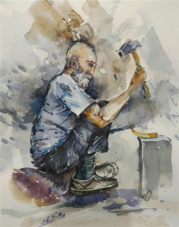 هنر نقاشی و گرافیک محفل نقاشی و گرافیک ab-derakhshan #آبرنگ ۳۰*۴۰  #فضا و فیگور بومی ،مجموعه کهن دیاران