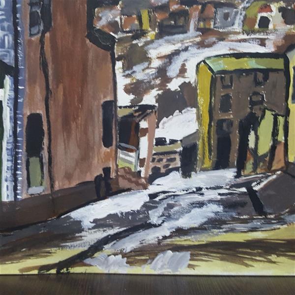 هنر نقاشی و گرافیک محفل نقاشی و گرافیک پروین  آقاحسینی روی مقوای اشتنباخ نا رنگ اکرولیک بدون آموزش روستای برفی