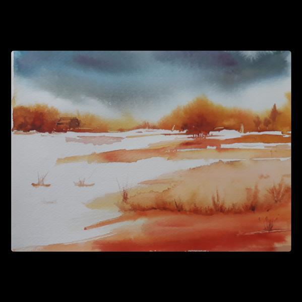 هنر نقاشی و گرافیک محفل نقاشی و گرافیک مرجانه باغبان ابرنگ .سایز ۳۵ در ۵۵ همراه با قاب سفید