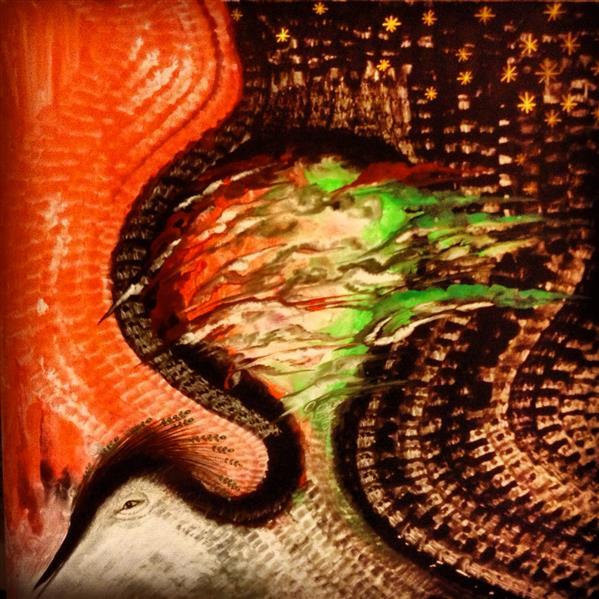 هنر نقاشی و گرافیک محفل نقاشی و گرافیک شهین قیدر شاداتى عنوان اثر :تجلی عشق# سایز : ۵۰/۵۰ تکنیک : گواش وآبرنگ از #مجموعه#گنج سفر