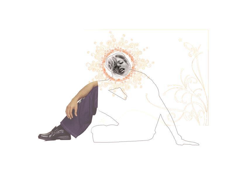 هنر نقاشی و گرافیک محفل نقاشی و گرافیک سام کاویانی نیم رخ از مجموعه آفتاب . ابعاد ۱۰۰×۷۰  چاپ ، ماژیک ، کلاژ