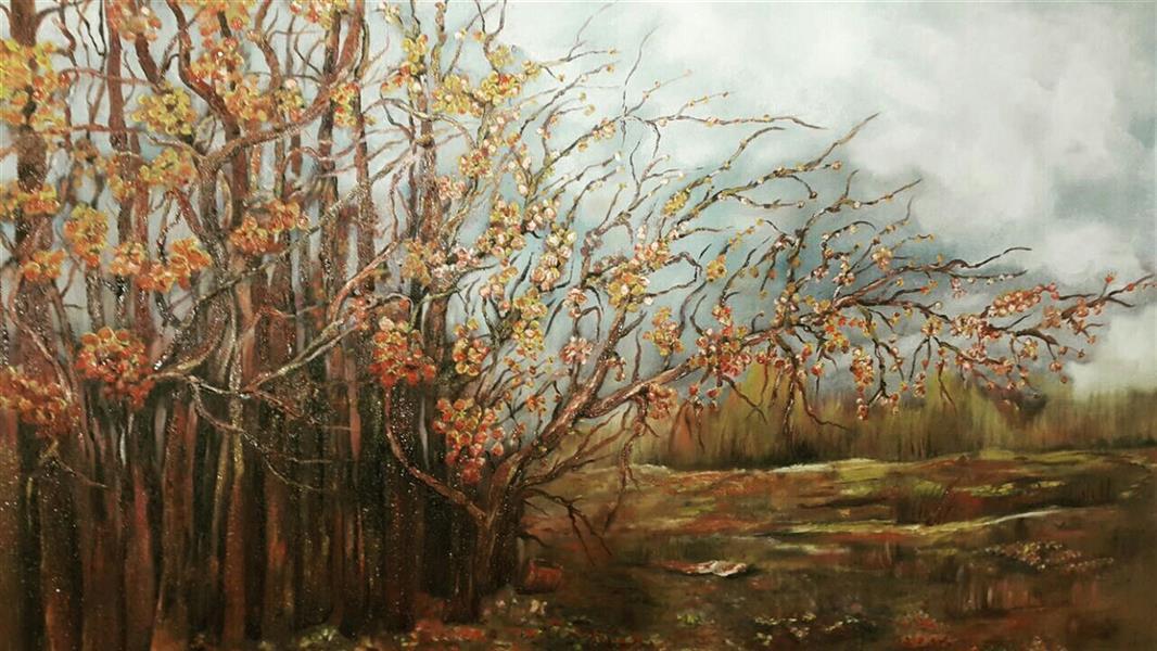 هنر نقاشی و گرافیک محفل نقاشی و گرافیک میترا داورپناه #Field #بیشه #رنگ_و_روغن_روی_بوم #منظره#درختان #شکوفه #چشم_انداز #نقاشی_تخیلی #ابره ا#اسمان_نیمه_ابری #oiloncanvas# imagination# trees# cloud# blossom# art# contemporary#