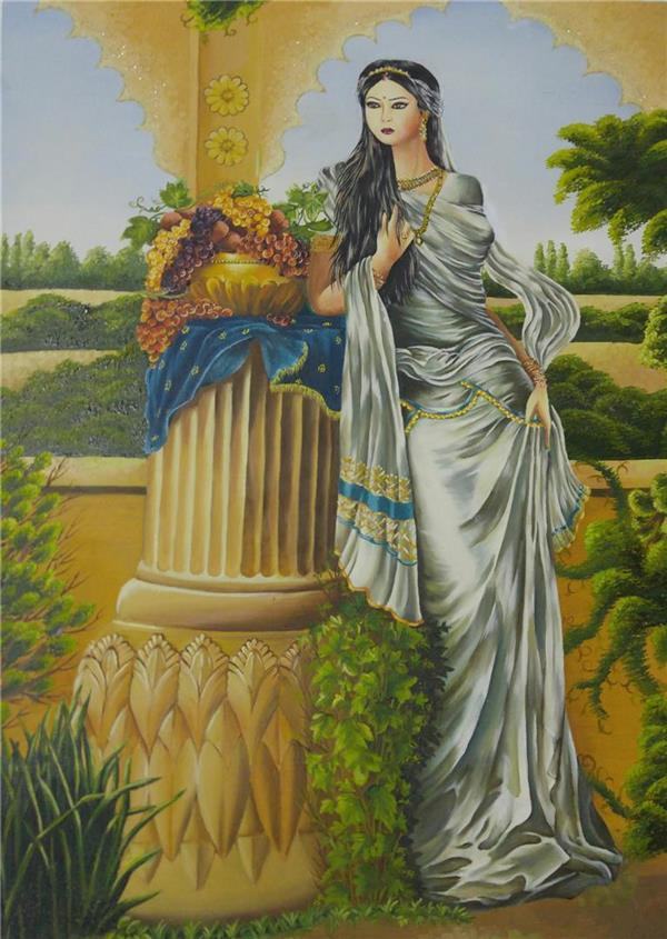 هنر نقاشی و گرافیک محفل نقاشی و گرافیک زهرادهقان رنگ روغن بوم باقاب شیک.1395 بانوی پارسی. زهرادهقان