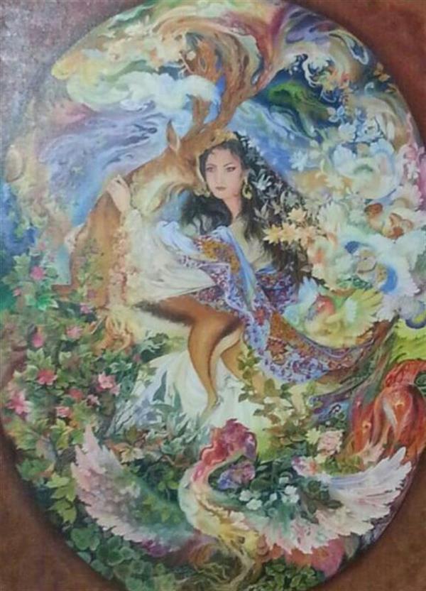 هنر نقاشی و گرافیک محفل نقاشی و گرافیک عصمت صادقی(غزال) #تابلوی_مینیاتور , #تکنیک_رنگ_روغن   #نقاشی #تابلو    مشقی ازاثر استاد فرشچیان ابعاد تابلو 60*80