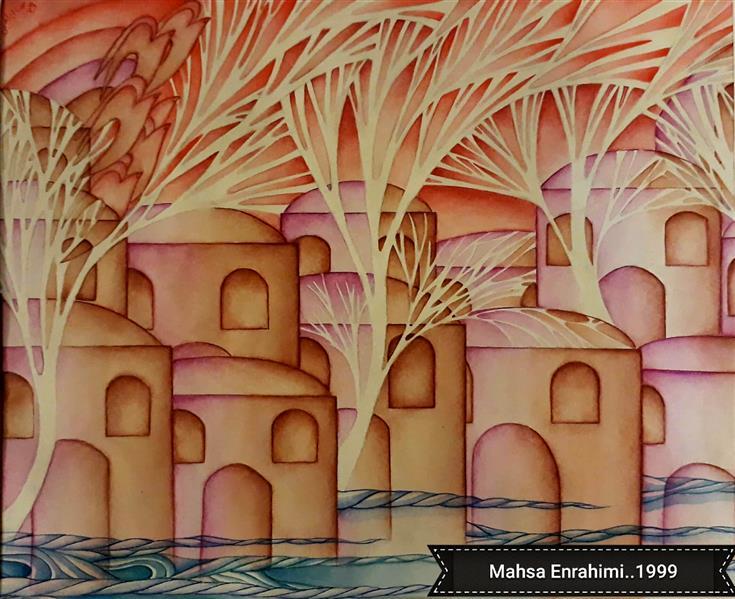 هنر نقاشی و گرافیک محفل نقاشی و گرافیک مهساابراهیمی عنوان :شعری ازسهراب سپهری(پشت دریاشهریست)...تکنیک:آبرنگ