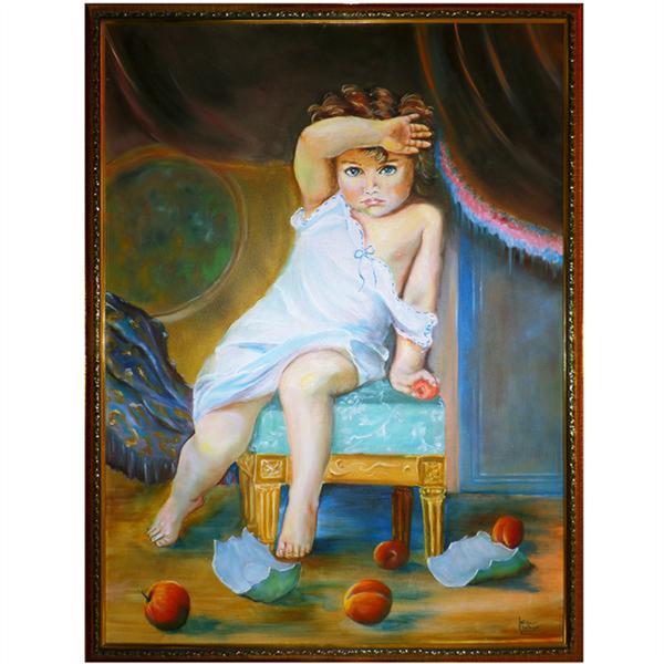 هنر نقاشی و گرافیک محفل نقاشی و گرافیک سید علی مهدوی تابلوی نقاشی کودک ملوس، رنگ روغن روی بوم، تلفیقی از مدلهای اروپایی و فرهنگ ایرانی. این تابلو در اندازه 60 در 80 دارای یک قاب متناسب با رنگهای تابلو است.