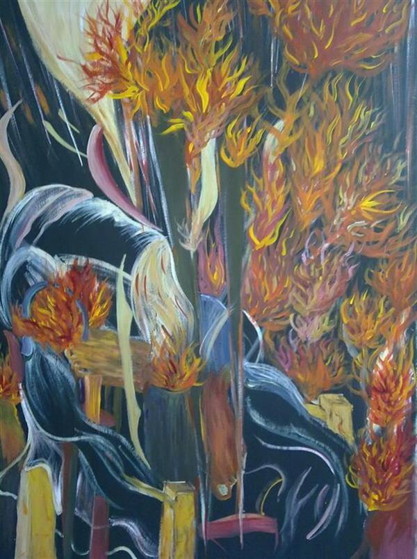 هنر نقاشی و گرافیک محفل نقاشی و گرافیک آیدین ساعی ارسی نام اثر : مرگ دیکتاتور ( dictator death) - ترکیب مواد روی مقوا - اندازه اثر 70*100