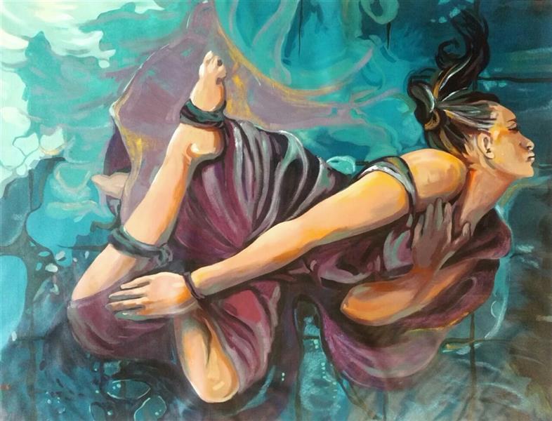 هنر نقاشی و گرافیک محفل نقاشی و گرافیک الهام حسین پور عنوان در هم تنیده، آکرلیک، پارچه بوم،۱۲۳×۹۶