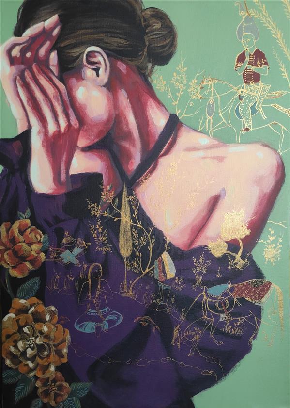 هنر نقاشی و گرافیک محفل نقاشی و گرافیک الهام حسین پور آکریلیک روی بوم، ۱۳۹۸,عنوان اثر:عشاق هنرمند: الهام حسین پور