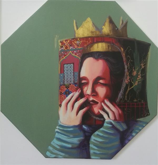 هنر نقاشی و گرافیک محفل نقاشی و گرافیک الهام حسین پور آکریلیک روی بوم هشت ضلعی، سال خلق۱۳۹۹, عنوان: کودکی، هنرمند الهام حسین پور