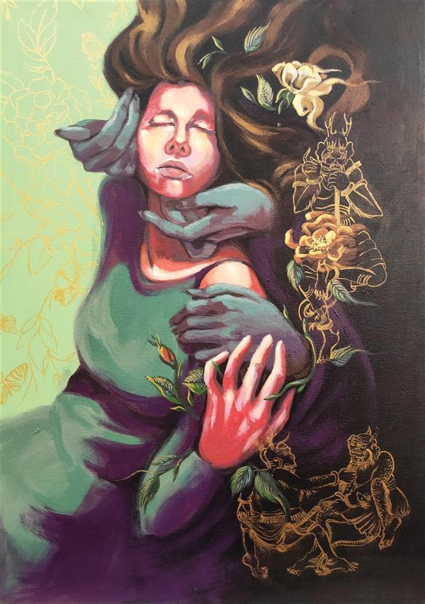 هنر نقاشی و گرافیک محفل نقاشی و گرافیک الهام حسین پور آکریلیک روی بوم، ۱۳۹۸، عنوان اثر: کابوس، هنرمند:الهام حسین پور