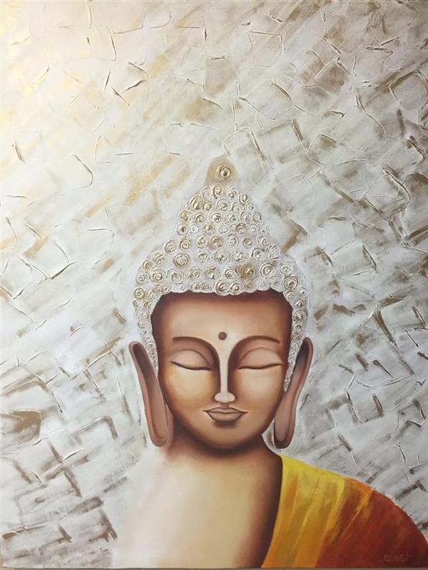 هنر نقاشی و گرافیک محفل نقاشی و گرافیک نیلوفر کریمی زندی نام اثر:بودا  سایز:١٢٠*٨٠ متریال :رنگ و روغن  قیمت:١/٠٠٠/٠٠٠تومان