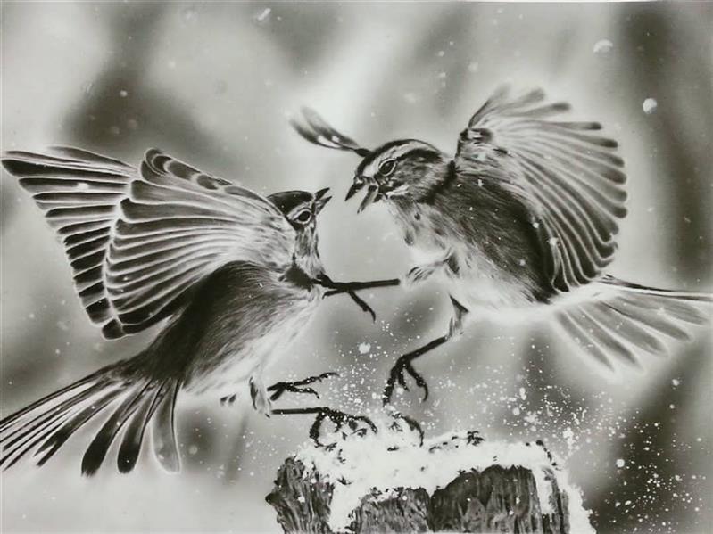 هنر نقاشی و گرافیک محفل نقاشی و گرافیک فاطمه کرمعلی نقاشی سیاه قلم پرنده #سیاهقلم#هنر#نقاشی#نقاش#siaghalam#art#art_sharing