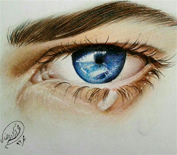 هنر نقاشی و گرافیک محفل نقاشی و گرافیک آزاده محمدرضایی نقاشی چشم با مدادرنگی