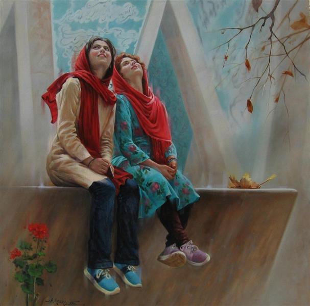 """هنر نقاشی و گرافیک محفل نقاشی و گرافیک علیرضا روکی آنچه در این اثر نمود دارد"""" لحظه """" است، زندگی است با شادیها و آرامشش در رنگبندی درخشان، حضور است در جریان حقیقت هستی."""