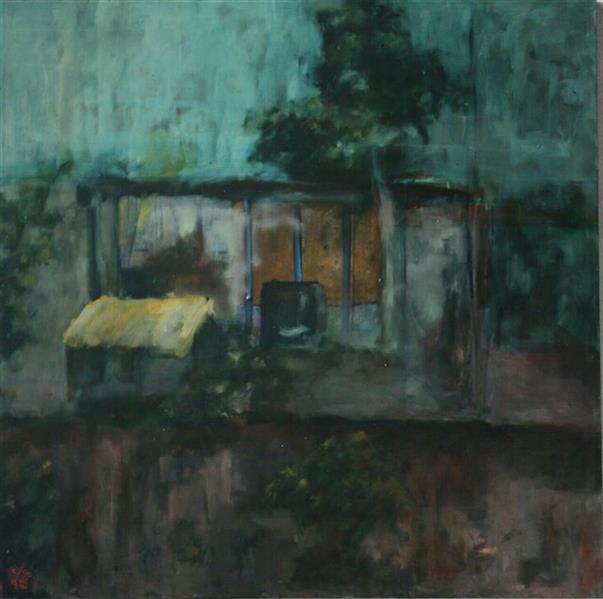 هنر نقاشی و گرافیک محفل نقاشی و گرافیک شروین کندری از مجموعه ی بام های لغزان سایز: 100×100 رنگ روغن روی بوم