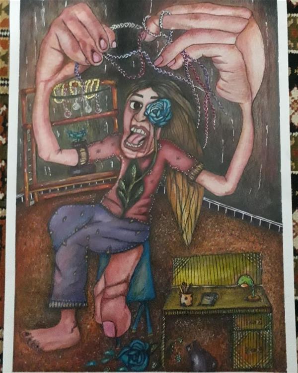 هنر نقاشی و گرافیک محفل نقاشی و گرافیک ارزو بیجانلو فریادی برای از دست دادن. سایز،۵۰×۴۰ mix media